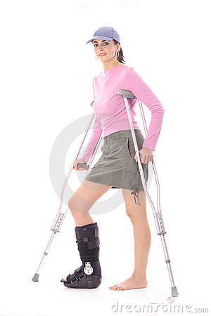 Injured woman with crutches