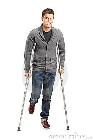 Injured young man on crutches