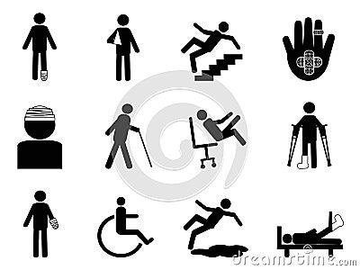 Injury icons set