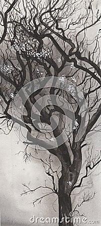 Ink blown tree
