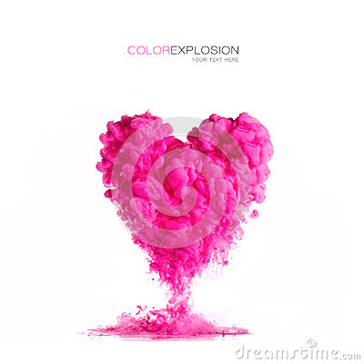 Free Ink Cloud Pink Heart-shaped On White. Color Explosion Stock Photos - 73585033