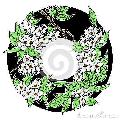 Ink drawing spring flower round frame, apple tree, green and white Stock Photo