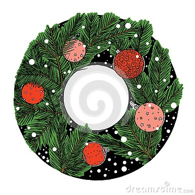 Ink drawing winter christmas tree round frame, new year stuff, green and red Stock Photo