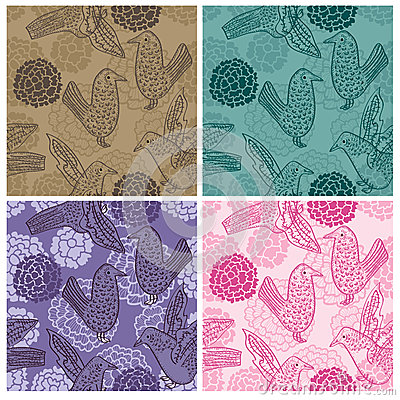 Ink Feel Bird Seamless Pattern_eps