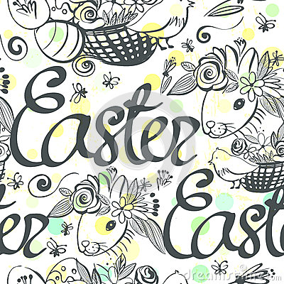Ink hand drawn black and white Easter seamless pattern Vector Illustration