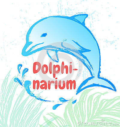 Ink hand drawn dolphin artistic illustration ready for banners etc. Vector Illustration