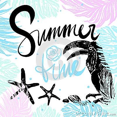 Ink hand drawn Summertime Tropical illustration Vector Illustration