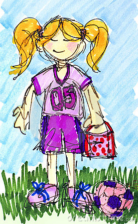Ink little girl football soccer player with colors