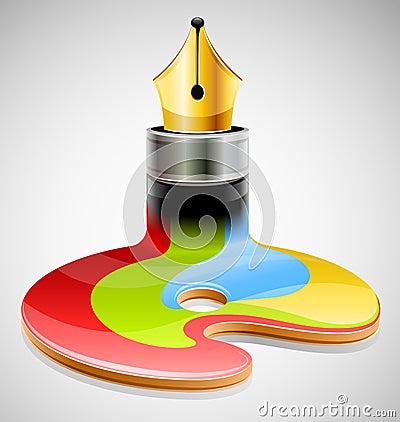 Ink pen as symbol of visual art