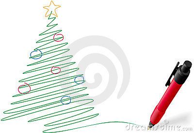 Ink pen drawing writing Merry Christmas tree