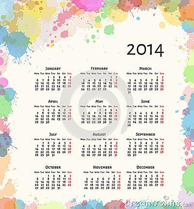 Ink splash 2014 calendar