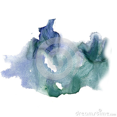 Free Ink Splatter Watercolour Dye Blue Green Liquid Watercolor Macro Spot Blotch Texture Isolated On White Background Stock Photos - 79727553