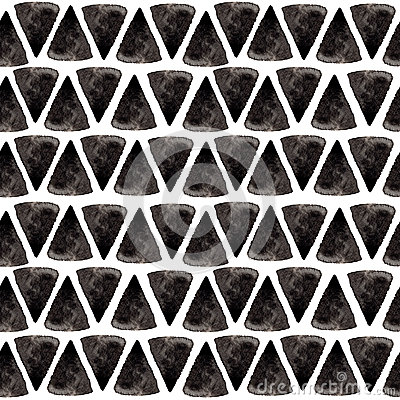 Free Ink Triangle Pattern. Relaxed Geometry Seamless Texture With Hand Painted Shapes, Blue And Black Colors. Trendy Fashion Stock Photos - 73904103
