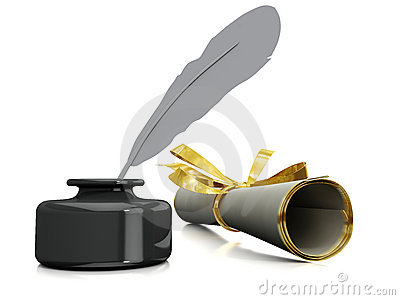 Royalty Free Stock Image  Inkwell and pen Fountain Pen And Inkwell