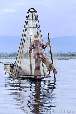 Inle Lake - Leg Rowing Fisherman - Myanmar (Burma) Editorial Stock Photo