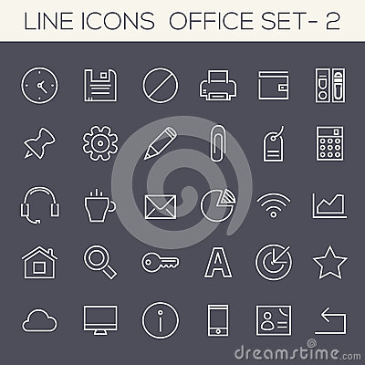 Free Inline Office Icons Collection Royalty Free Stock Photography - 73925997