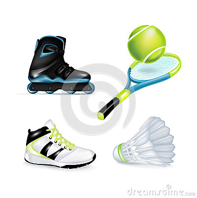 Inline skate, sport shoe and tennis racket
