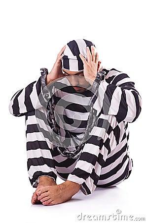 Inmate in stiped uniform