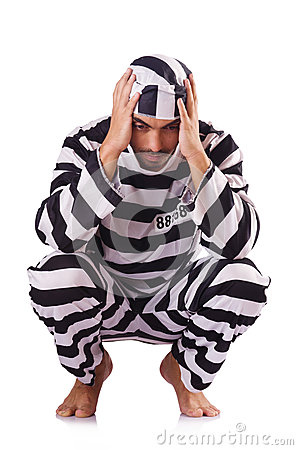 Inmate in stiped uniform