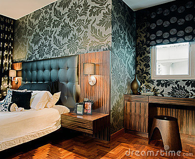 Innenarchitektur - Schlafzimmer Lizenzfreies Stockfoto - Bild: 2436325