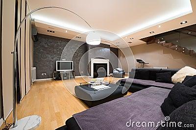 luxusstehlampe im modernen gerumigen wohnzimmer mit kamin - Moderne Luxus Kamine