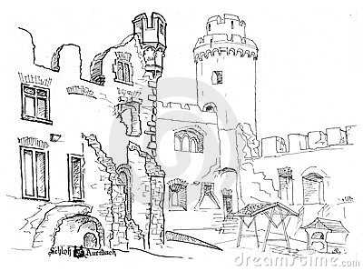 Courtyard medieval castle hand drawn