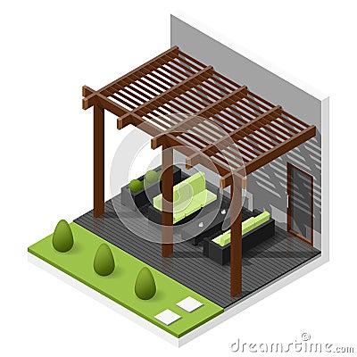 Free Inner Courtyard Isometric Icon Set Stock Photos - 67659163
