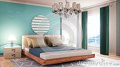 Inneres der Zimmer Bed 3D-Abbildung stock abbildung