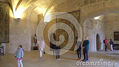 Inneres des Königlichen Palastes La Almudaina in Palma de Mallorca, Spanien stock video footage