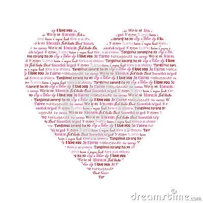 inneres mit w246rtern ich liebe dich in den verschiedenen
