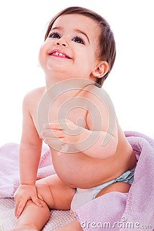 Innocent baby looking up