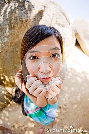 Innocent beautiful asian girl outdoors