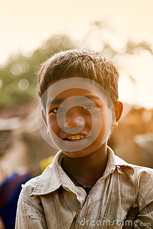 Innocent happy indian poor child Editorial Photography