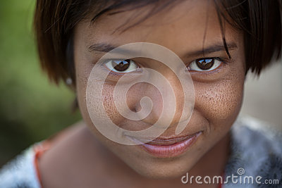 Innocent smile of indian female child Editorial Photography