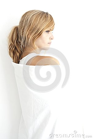Free Innocent Young Woman In A White Linen Stock Photos - 26930553
