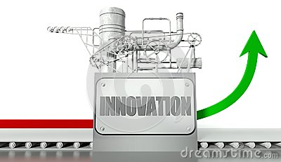 Innovation concept with graph and machine