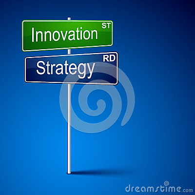 Innovation strategy direction road sign.