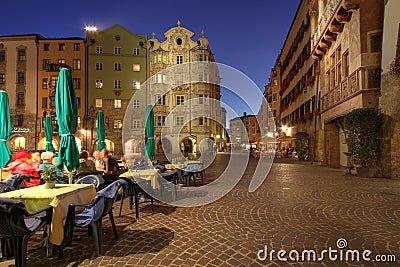 Innsbruck at night, Austria Editorial Stock Image