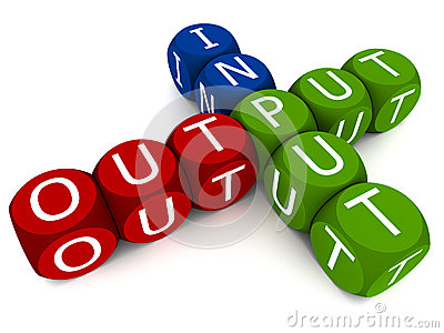 Input and output words on white background, vivid colored blocks ...