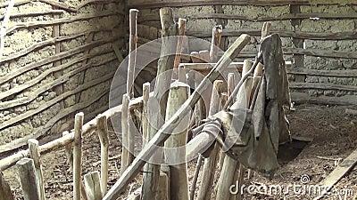 Inre av den gamla och övergav kojan förlagematare för får lager videofilmer