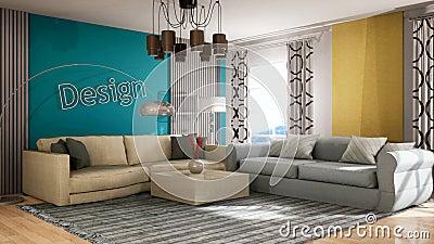 Inre i vardagsrummet 3D-illustration vektor illustrationer