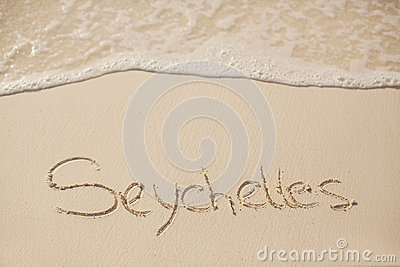Inscription on the beach of the Indian Ocean