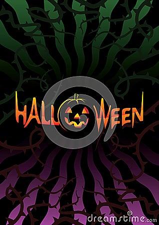 Inscription Halloween on dark background