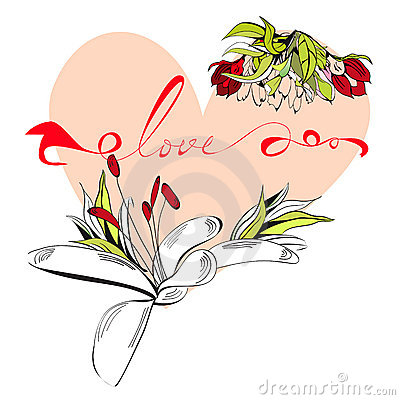 Inscription love with heart
