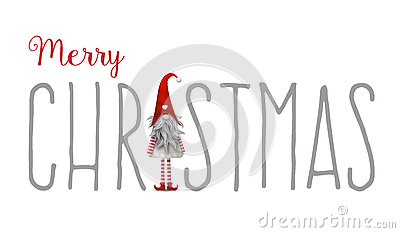 Inscription Merry Christmas, with gnome used as letter I, illustration Vector Illustration