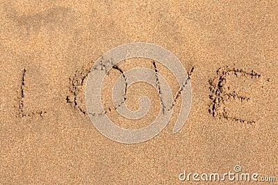 Inscription on sand LOVE