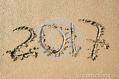 Inscription 2017 on the sand Stock Photo