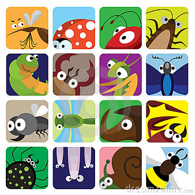 Free Insect Icons Set Royalty Free Stock Photos - 15566248