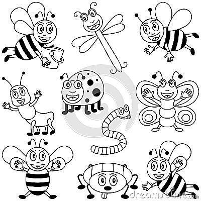 Insectes de coloration pour des gosses
