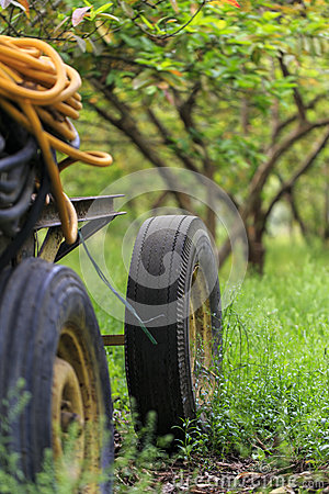 Free Insecticide Machine Tank Tires In Village,Damietta,Egypt. Royalty Free Stock Images - 56131189